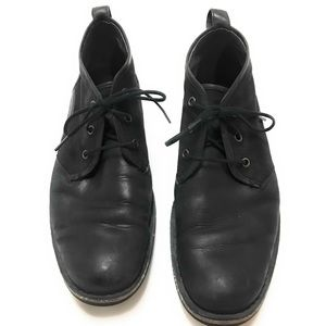 John Varvatos Distressed Leather & Canvas Boots